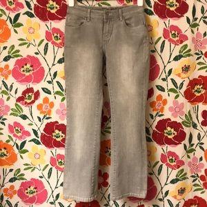 Like new Chico's Platinum grey straight leg jeans!